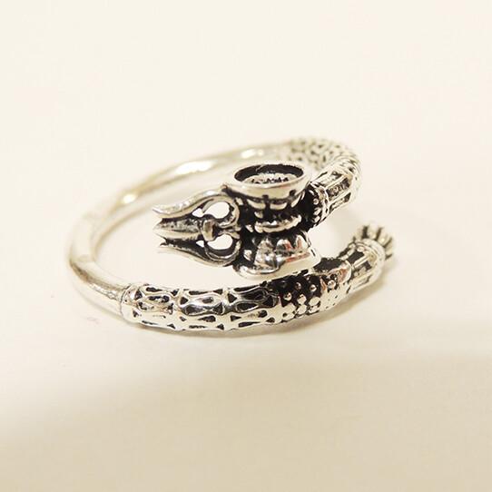 シヴァの武器 トリシューラ 太鼓(ダマル)の指輪 シルバー