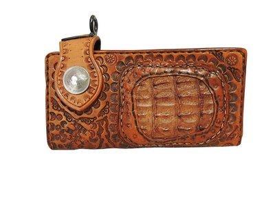 牛革とワニ革のカービング長財布