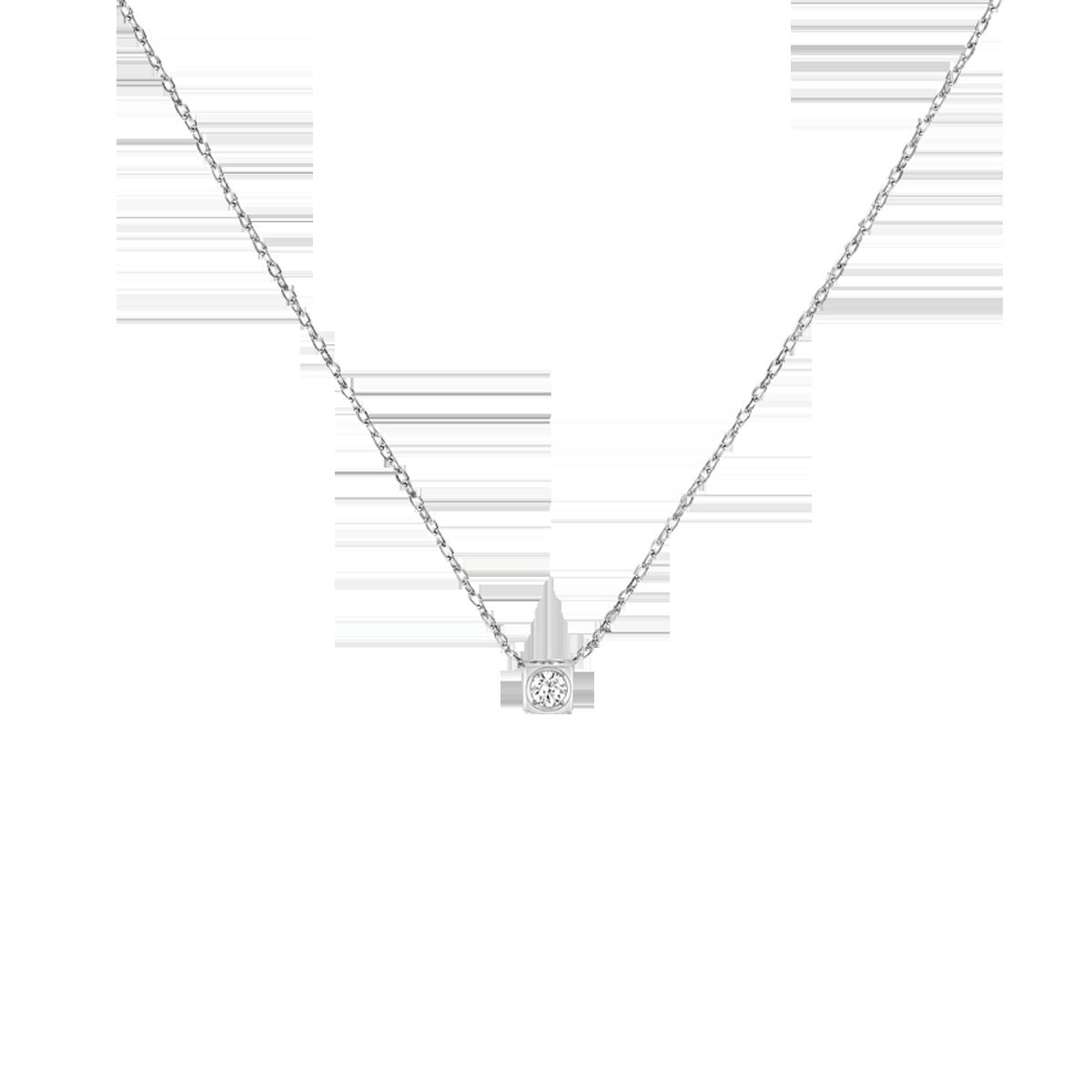 Collier Le Cube Diamant petit modèle or blanc et diamant