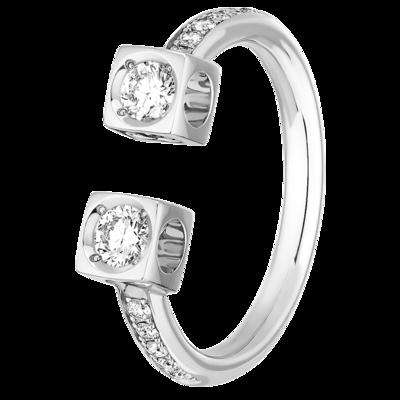 Bague Le Cube Diamant GM pavée en or blanc