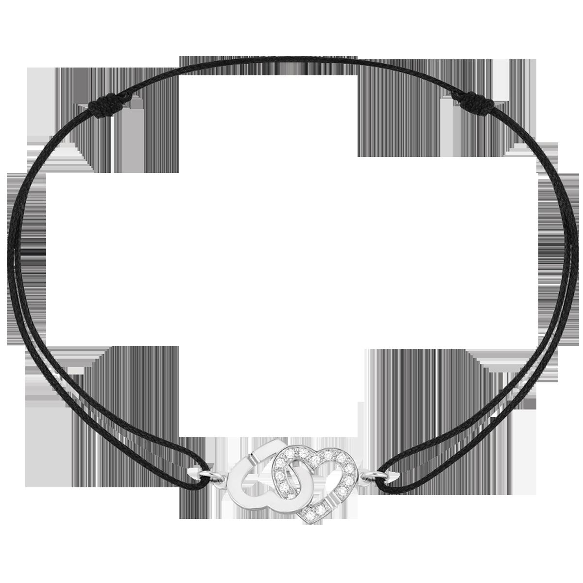 Bracelet sur cordon Double Coeurs R9 or blanc et diamants