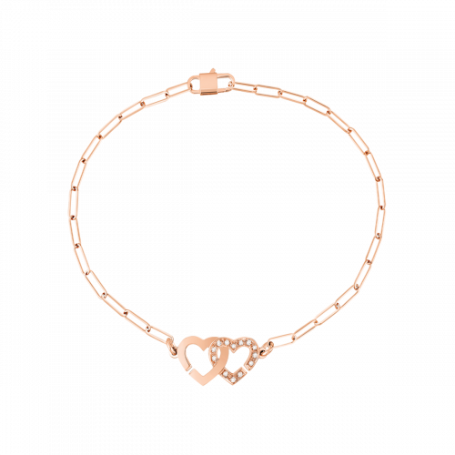 Bracelet Double Cœurs R9 or rose et diamants