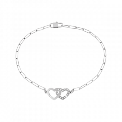 Bracelet Double Cœurs R9 or blanc et diamants
