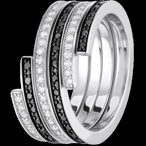 Bague duo Spirale dinh van moyen modèle or blanc, diamants et diamants noirs