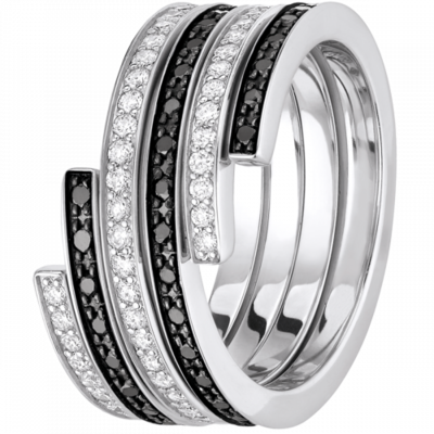 Bague duo Spirale dinh van moyen modèle or blanc, diamants et diamants noirs