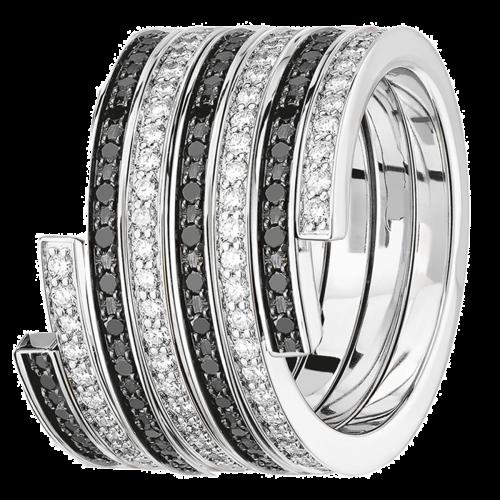 Bague duo Spirale dinh van grand modèle or blanc, diamants et diamants noirs