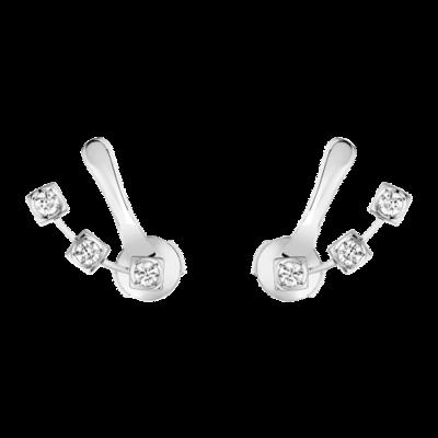 Boucles d'oreilles Le Cube Diamant or blanc et diamants