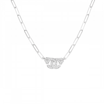 Collier Menottes dinh van R10 or blanc et diamants