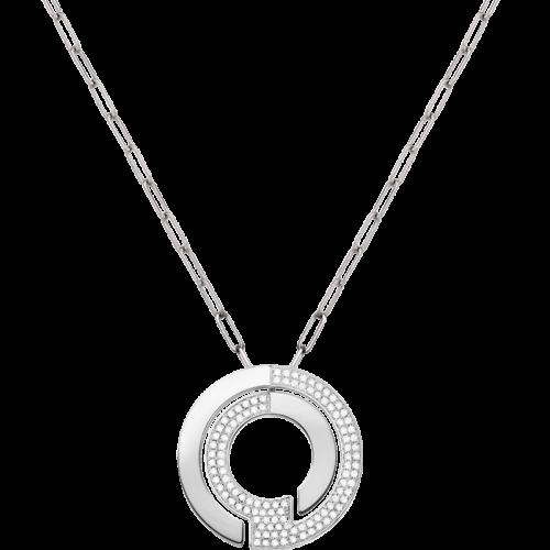 Pendentif sur chaîne Seventies grand modèle  or blanc et diamants