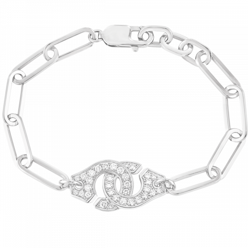 Bracelet Menottes dinh van R15 or blanc et diamants