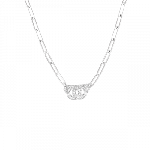 Collier Menottes dinh van R12 or blanc et diamants