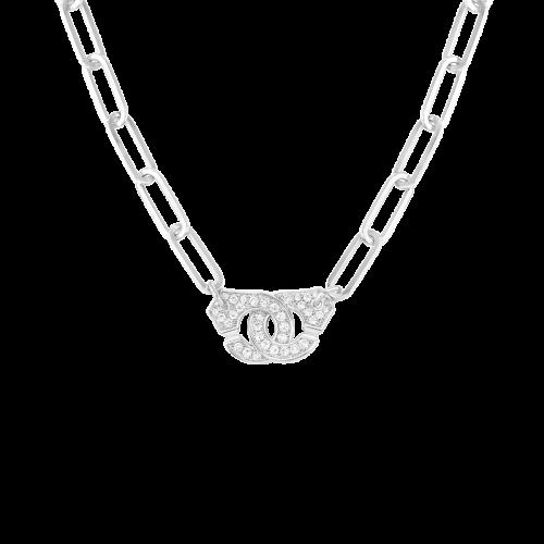 Collier Menottes dinh van R15 or blanc et diamants