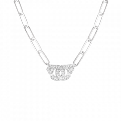 Collier Menottes dinh van R15 or blanc et diamants