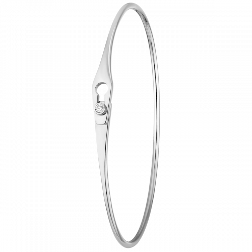 Bracelet Serrure Jonc or blanc et diamant