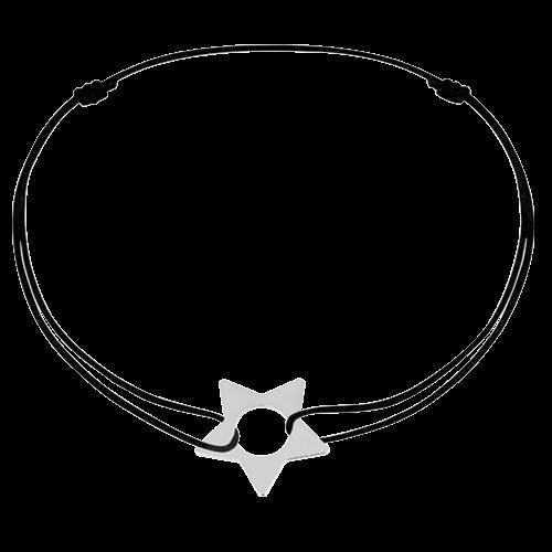 Bracelet sur cordon Etoile or blanc