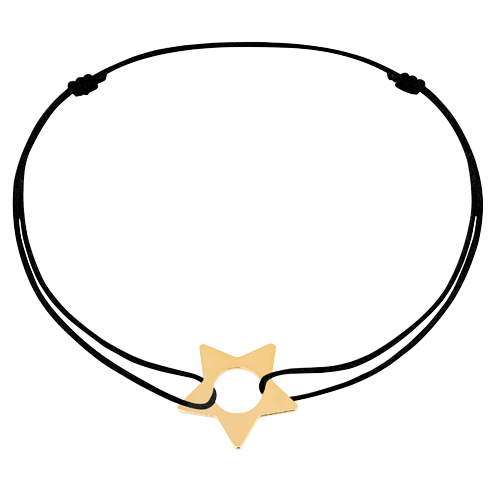 Bracelet sur cordon Étoile or jaune