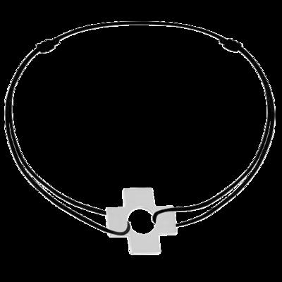 Bracelet sur cordon Croix or blanc