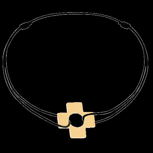 Bracelet sur cordon Croix or jaune