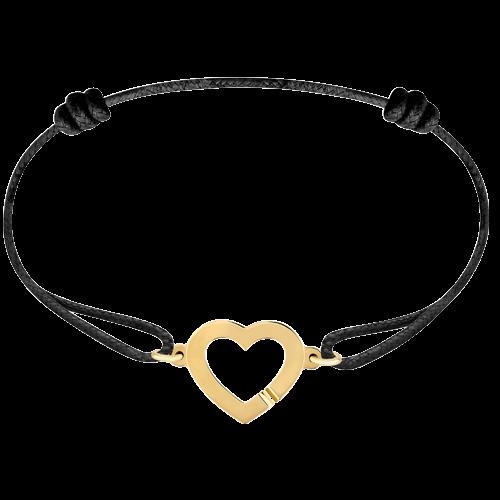 Bracelet sur cordon Cœur or jaune