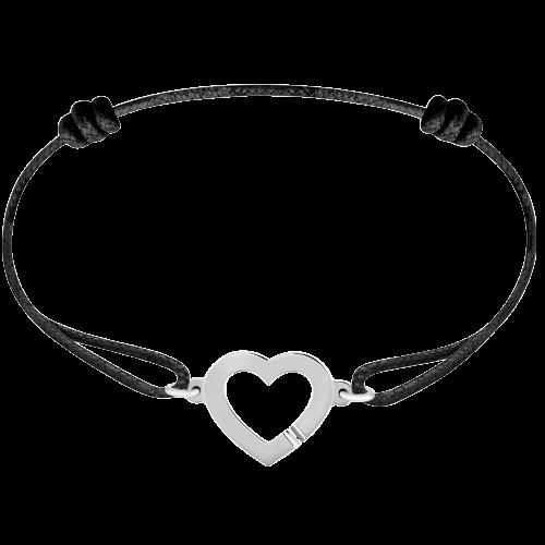 Bracelet sur cordon Cœur or blanc