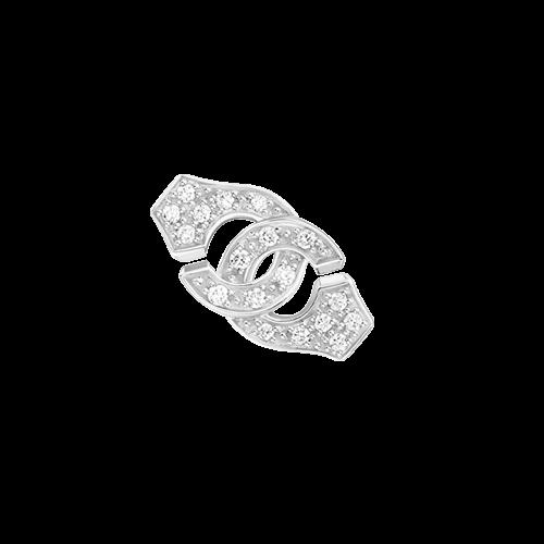 Mono boucle d'oreille Menottes dinh van R8 or blanc et diamants
