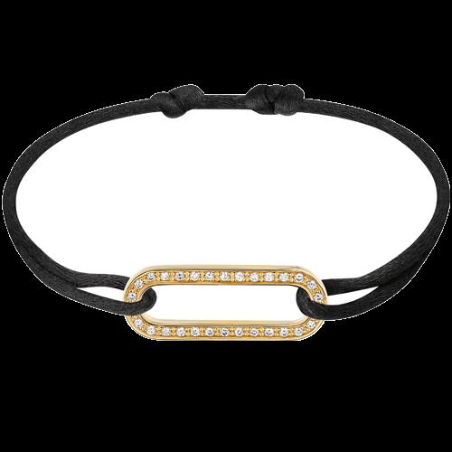Bracelet sur cordon Maillon L or jaune et diamants