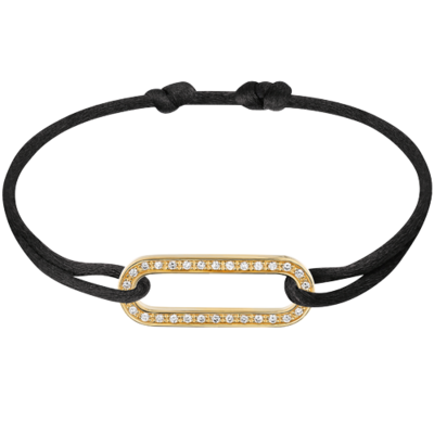 Bracelet sur cordon Maillon L or jaune et diamants