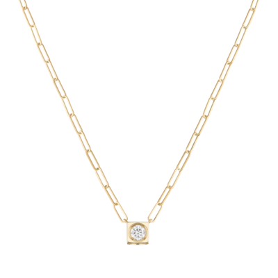 Collier Le Cube Diamant grand modèle or jaune et diamant
