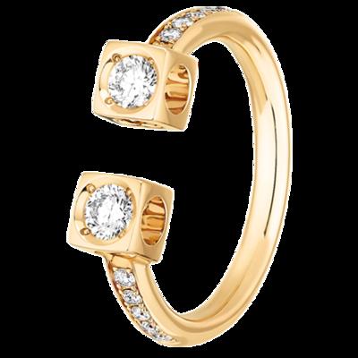 Bague Le Cube Diamant grand modèle or jaune et diamants