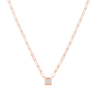 Collier Le Cube Diamant grand modèle or rose et diamant