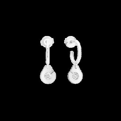 Créoles Menottes dinh van R8 or blanc et diamants