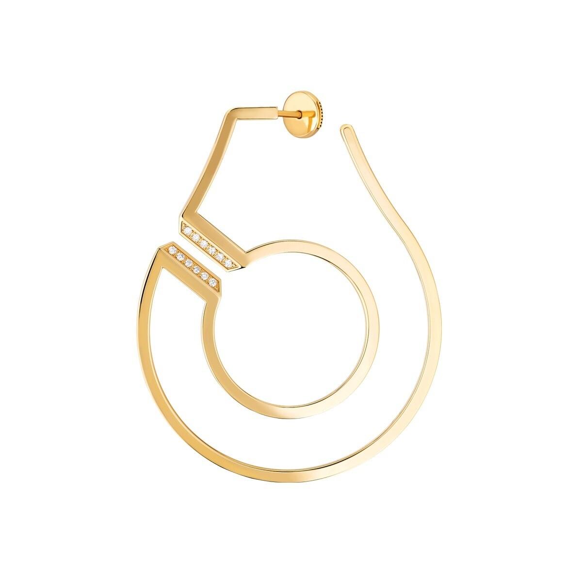 Mono créole gauche Menottes dinh van R45 or jaune et diamants