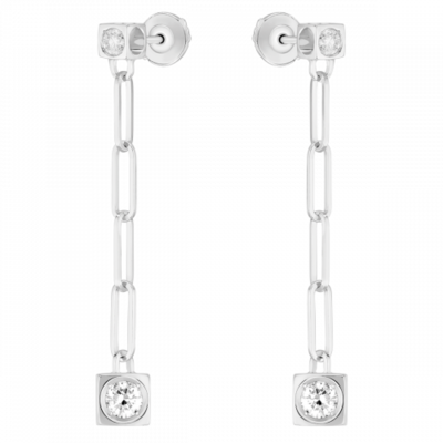 Pendants d'oreilles Le Cube Diamant or blanc et diamants