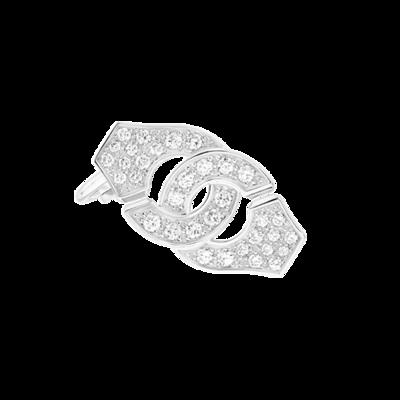 Mono boucle d'oreille droite Menottes dinh van R12 or blanc et diamants