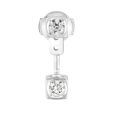 Mono boucle d'oreille Le Cube Diamant or blanc et diamants