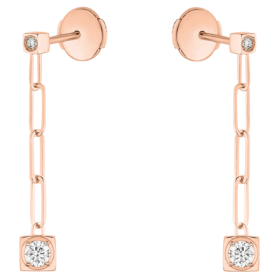 Pendants d'oreilles Le Cube Diamant or rose et diamants