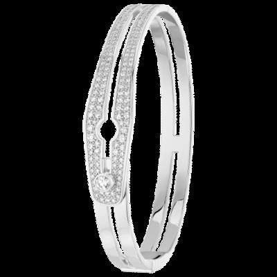 Bracelet Serrure grand modèle or blanc et diamants