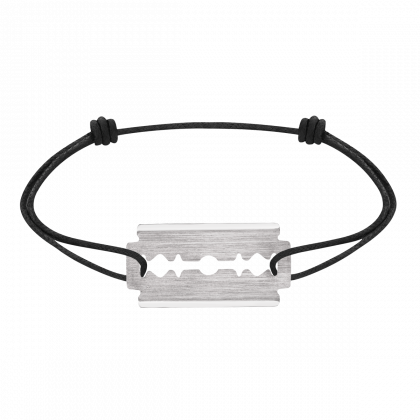 Bracelet sur cordon Lame de Rasoir or blanc grand modèle