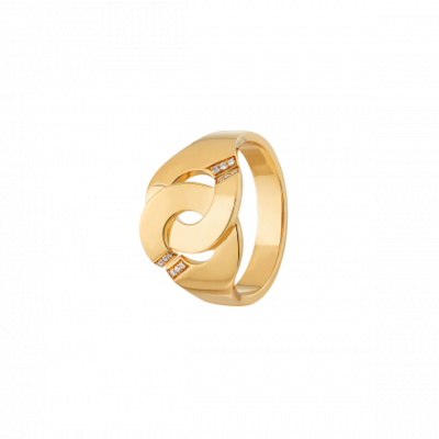 Bague Menottes dinh van R12 or jaune et diamants