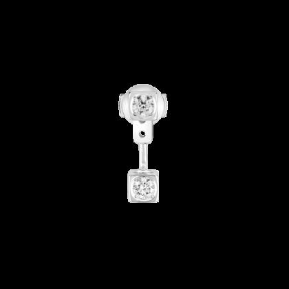 Mono boucle d'oreilles Le Cube Diamant en or blanc