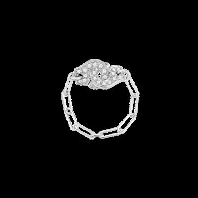 Bague chaîne Menottes dinh van R7 or blanc et diamants