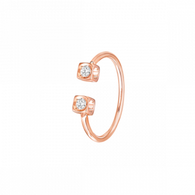 Bague Le Cube Diamant or rose et diamants