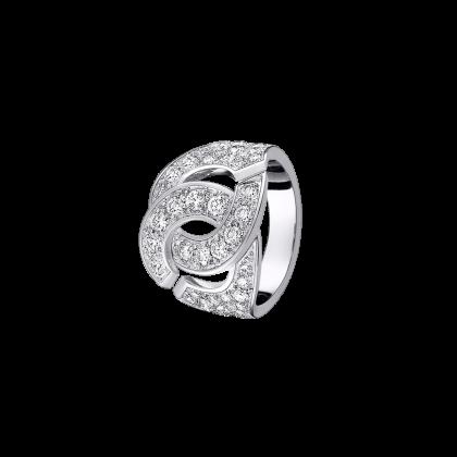 Bague menottes dinh van R16 or blanc et diamants
