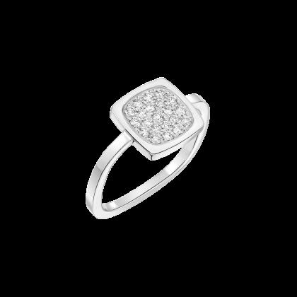 Bague Impression petit modèle or blanc et diamants