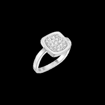 Bague Impression grand modèle  or blanc et diamants