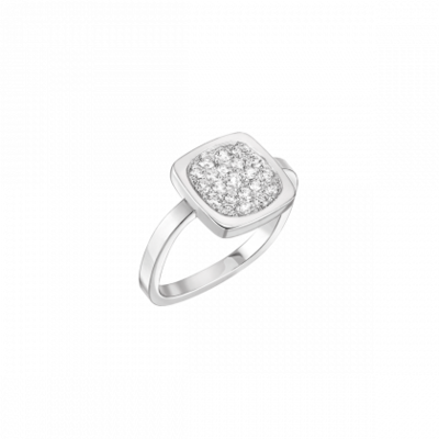 Bague Impression grand modèle  or blanc et diamants