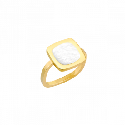 Bague Impression or jaune et nacre