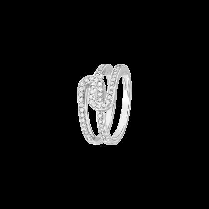 Bague Maillon Star XS or blanc et diamants