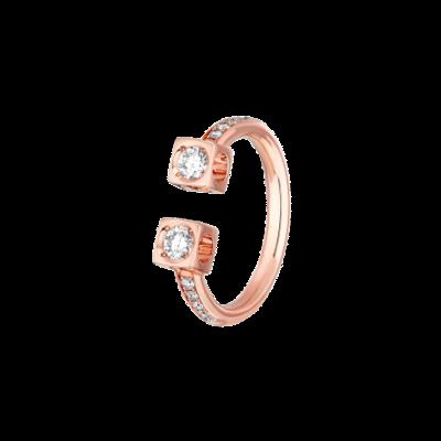 Bague Le Cube Diamant GM pavée en or rose