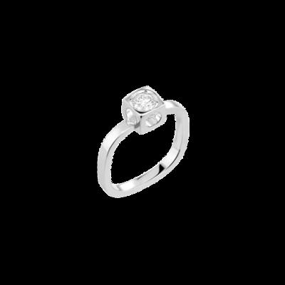 Bague Le Cube Diamant grand modèle or blanc et diamant
